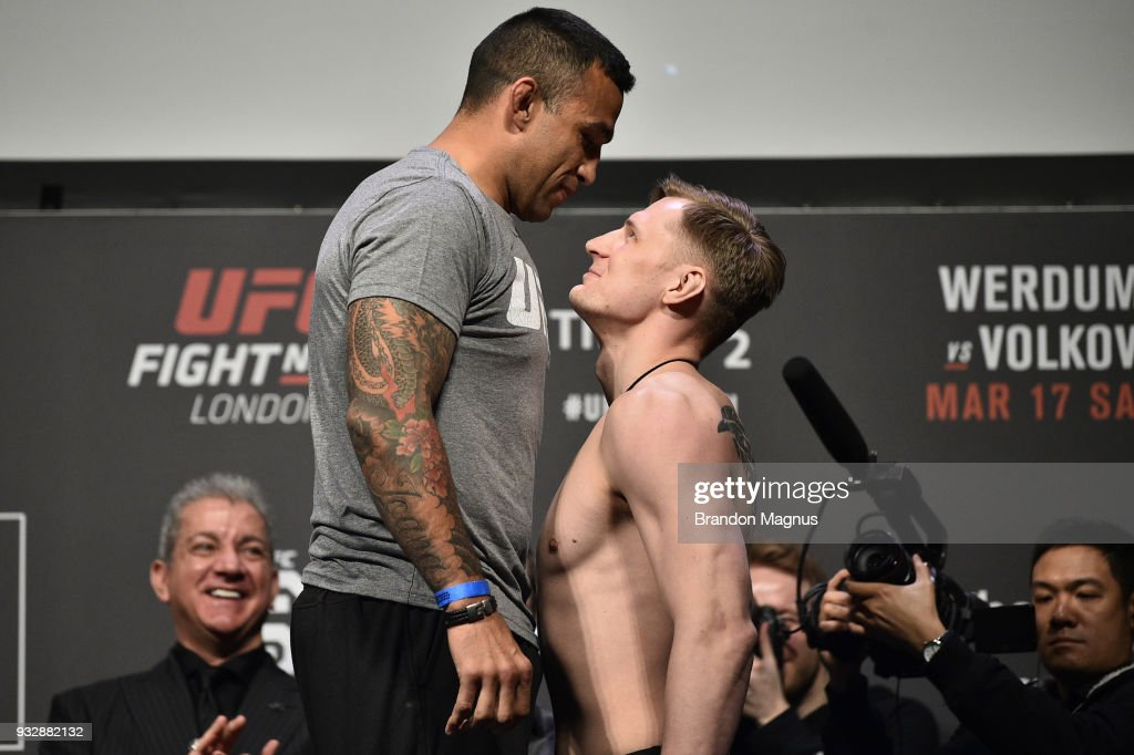 Fabricio Werdum of Brazil and Alexander Volkov of Russia face off during the UFC Fight Night weigh-in inside The O2 Arena on March 16, 2018 in London, England.