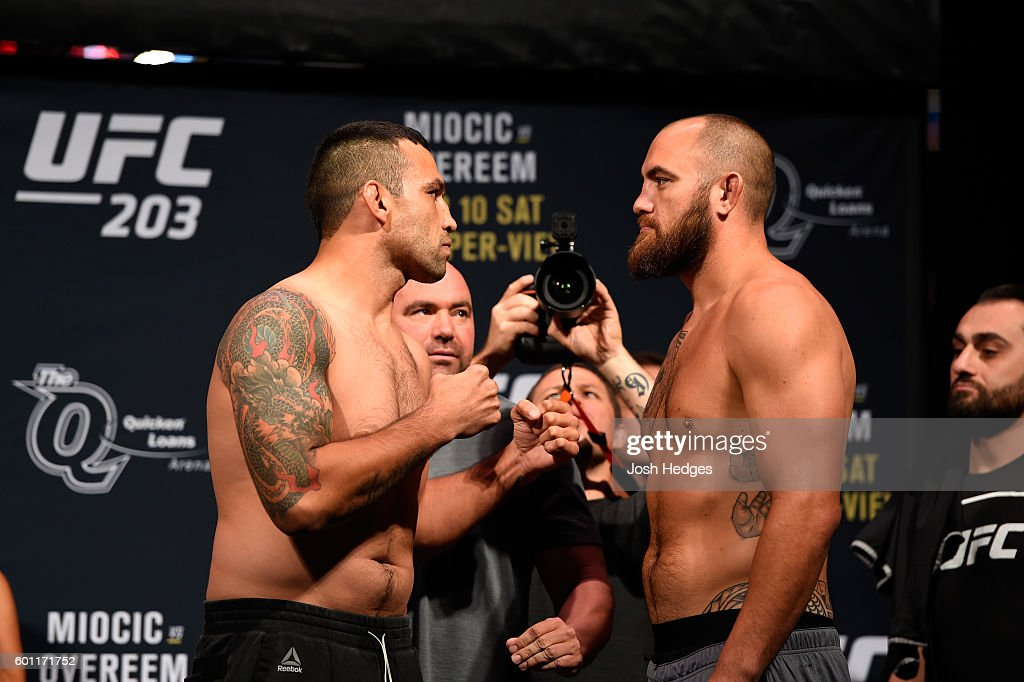 Fabricio Werdum of Brazil and Travis Browne of the United States face off during the UFC 203 Weigh-in at Quicken Loans Arena on September 9, 2016 in Cleveland, Ohio.