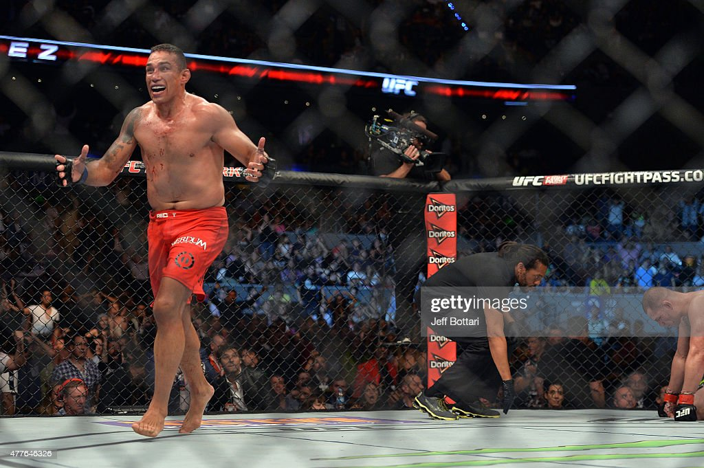 Fabricio Werdum of Brazil celebrates after defeating Cain Velasquez of the United States in their UFC heavyweight championship bout during the UFC 188 event inside the Arena Ciudad de Mexico on June 13, 2015 in Mexico City, Mexico.