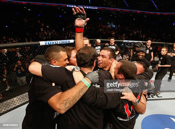 Fabricio Werdum of Brazil celebrates after knocking out Mark Hunt in their interim UFC heavyweight championship bout during the UFC 180 event at...