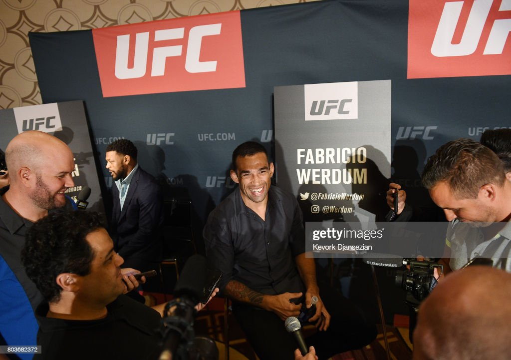 Fabricio Werdum speaks during the UFC International Fight Week Media Day June 29, 2017, in Los Angeles, California.
