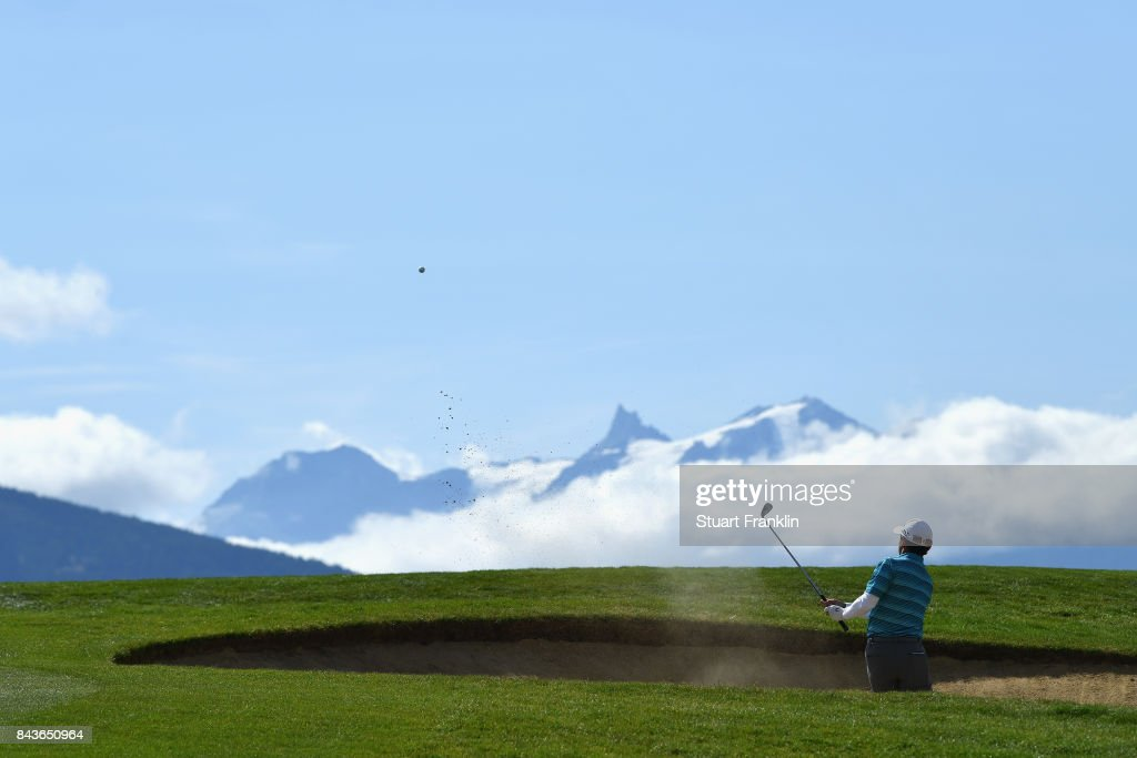 Fabricio Zanotti of Paraguay plays out of a bunker on the 7th during day one of the 2017 Omega European Masters at Crans-sur-Sierre Golf Club on September 7, 2017 in Crans-Montana, Switzerland.