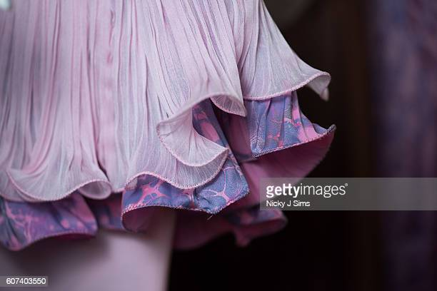Fabrics are seen backstage at the Barrus show during London Fashion Week Spring/Summer collections 2017 at Fashion Scout on September 16 2016 in...