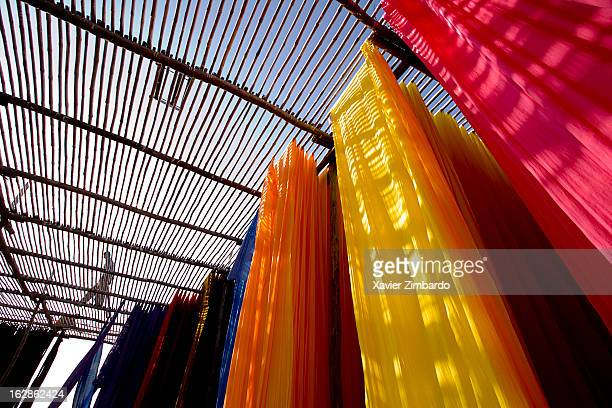 Fabrics being air dried at a dyeing workshop on January 9 2007 in Rajasthan India