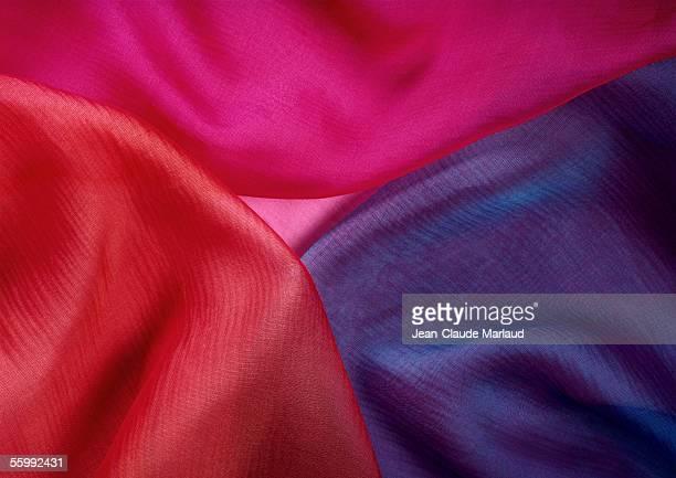 fabrics of three colors, close-up - シフォン ストックフォトと画像