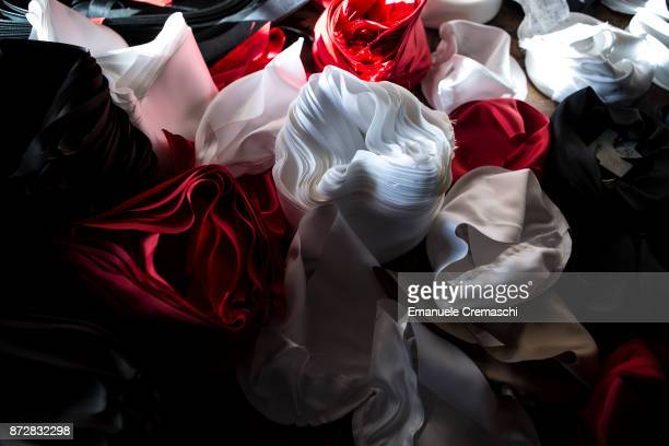 Fabrics used to line hats is stored in the Vimercati Hats' workshop on March 1 2017 in Monza Italy Vimercati Hats is the last familyrun company...