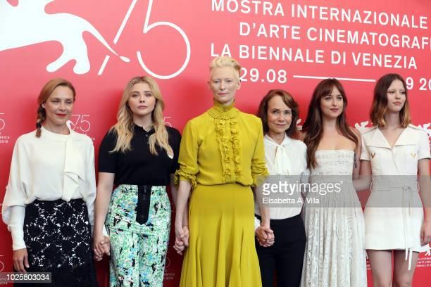 Fabrizia Sacchi Chloe Grace Moretz Tilda Swinton Jessica Harper Dakota Johnson and Mia Goth attend 'Suspiria' photocall during the 75th Venice Film...