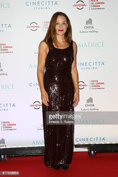 Fabrizia Sacchi walks a red carpet at the charity dinner for Amatrice during the 11th Rome Film Festival at Auditorium Parco Della Musica on October...