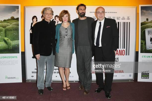 Fabrizio Bentivoglio Valeria Bruni Tedeschi and director Paolo Virzi attend the 'Il Capitale Umano' Premiere at The Space Moderno on January 8 2014...