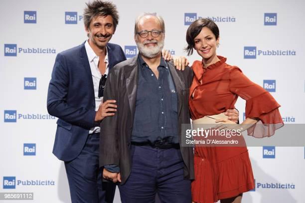 Fabrizio Biggio Marco Giusti and Andrea Delogu attend the Rai Show Schedule presentation on June 27 2018 in Milan Italy