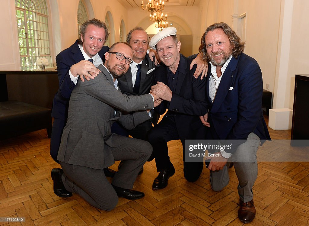 Fabrizio Botto Poala, Ercole Botto Poala, Guglielmo Botto Poala, Paul Simonon and Francesco Botto Poala attend the brunch for REDA in collaboration with The Woolmark Company and Magnum celebrating 150 years, at One Marylebone on June 14, 2015 in London, England.
