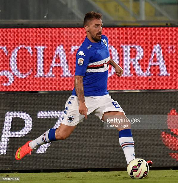 Fabrizio Cacciatore of Sampdoria in action during the Serie A match between US Citta di Palermo and UC Sampdoria at Stadio Renzo Barbera on August 31...