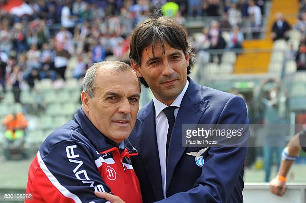 Fabrizio Castori Carpi's head coach and Simone Inzaghi Lazio's head coach before the Serie A football match between FC Carpi and SS Lazio at Braglia...