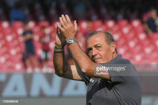 Fabrizio Castori manager of US Salernitana 1919 gestures during the presentation of Franck Ribery as the new signing for US Salernitana 1919 at...