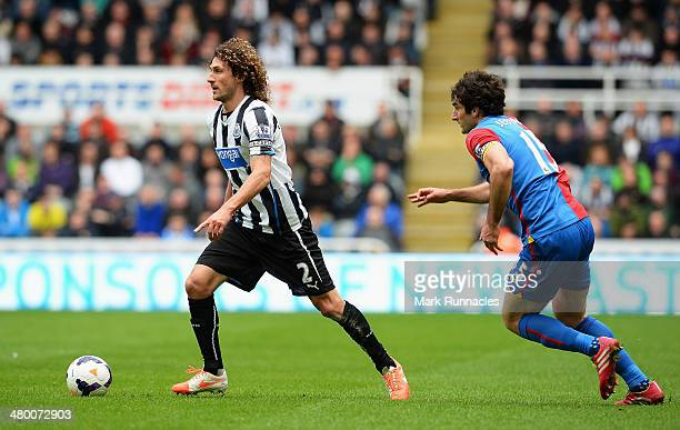 Fabrizio Coloccini of Newcastle United is closed down by Mile Jedinak of Crystal Palace during the Barclays Premier League match between Newcastle...