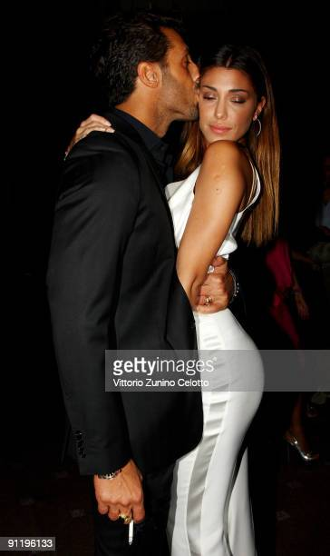 Fabrizio Corona and Belen Rodriguez attend the Guli Presents 'Style.Uzbekistan' show as part of Milan Womenswear Fashion Week Spring/Summer 2010 on...