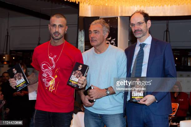 Fabrizio Corona and Massimo Giletti during the presentation of book Non mi avete fatto niente. Milan, January 22nd, 2019