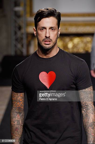 Fabrizio Corona the runway at the Roccobarocco show during Milan Fashion Week Fall/Winter 2016/17 on February 25, 2016 in Milan, Italy.
