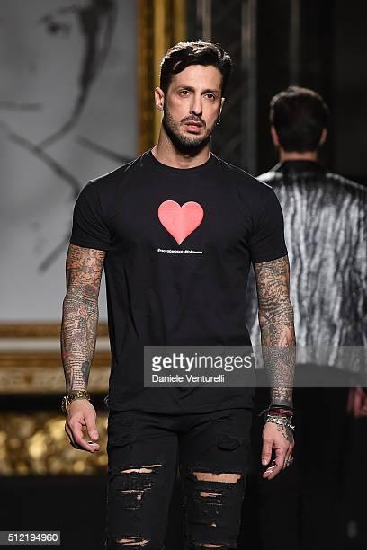 Fabrizio Corona walks the runway at the Roccobarocco show during Milan Fashion Week Fall/Winter 2016/17 on February 25 2016 in Milan Italy
