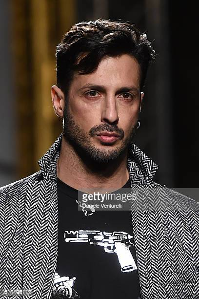 Fabrizio Corona walks the runway at the Roccobarocco show during Milan Fashion Week Fall/Winter 2016/17 on February 25, 2016 in Milan, Italy.