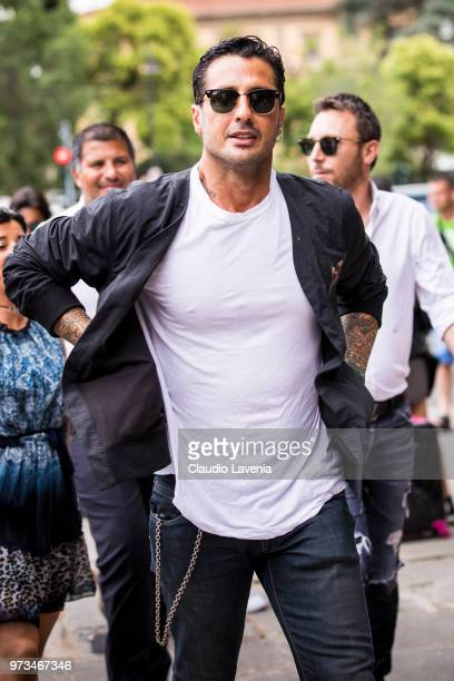 Fabrizio Corona, wearing white t-shirt and blue jacket, is seen during the 94th Pitti Immagine Uomo at Fortezza Da Basso on June 13, 2018 in...