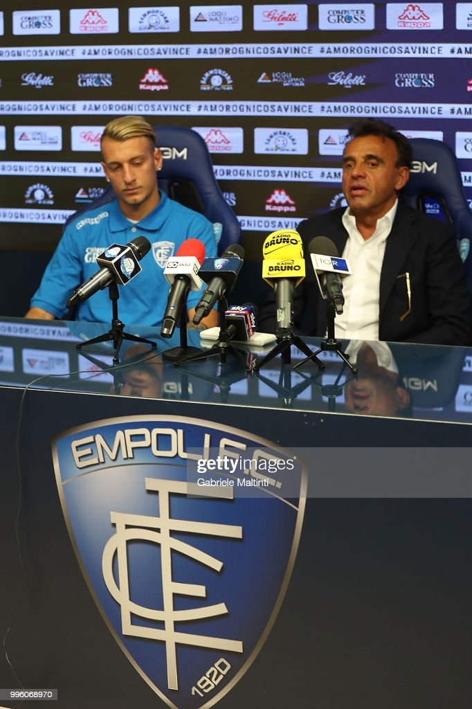 Fabrizio Corsi president of Empoli FC and Antonino La Gumina of Empoli FC during a press conference on July 11, 2018 in Empoli, Italy.