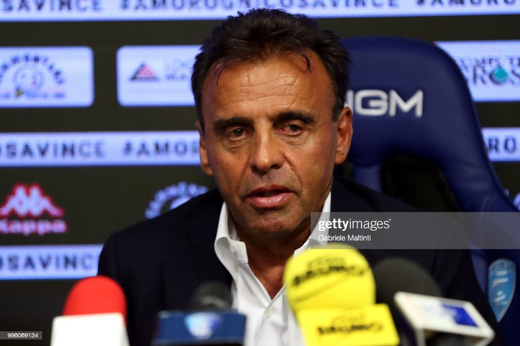 Fabrizio Corsi president of Empoli FC during a press conference on July 11, 2018 in Empoli, Italy.