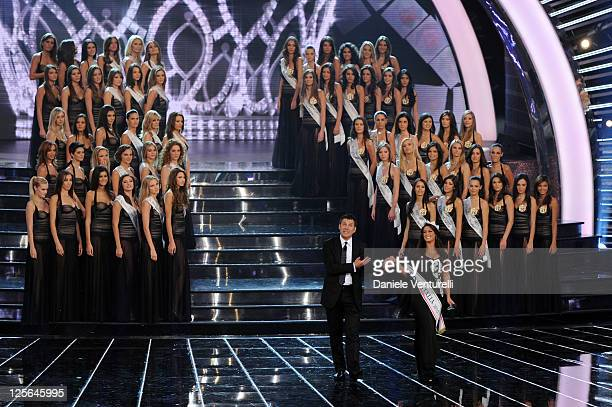Fabrizio Frizzi and Francesca Testasecca attends the 2011 Miss Italia beauty pageant at the Palazzetto of Montecatini on September 19 2011 in...