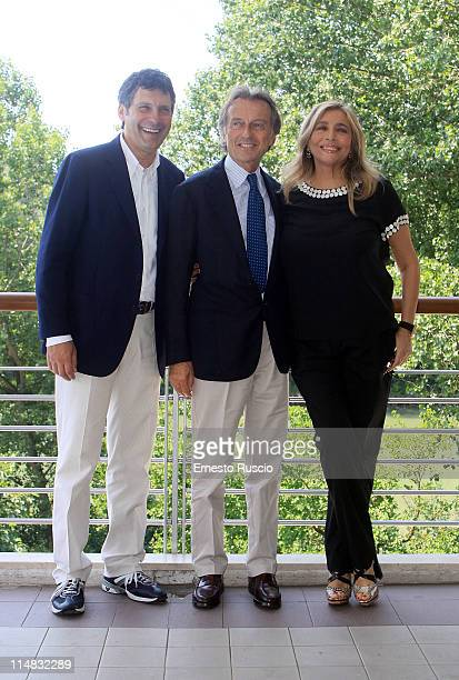 Fabrizio Frizzi Luca Cordero Di Montezemolo and Mara Venier attend the 'La Partita del Cuore 2011' press Conference at Circolo Sportivo RAI on May 27...