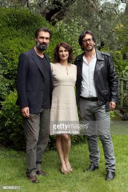 Fabrizio Gifuni Lorenza Indovina and director Daniele Vicari attend a photocall for 'Prima Che La Notte' Rai Fiction at Viale Mazzini on May 21 2018...