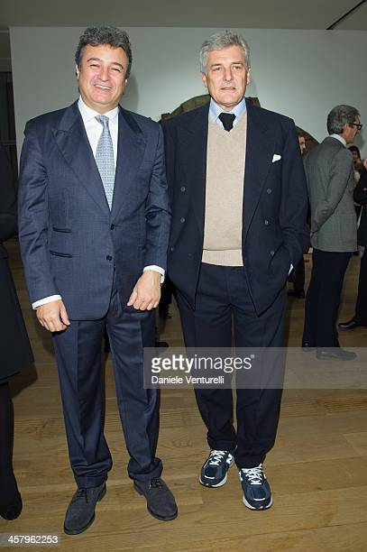 Fabrizio Giugiaro and Alain Elkann attend Ron Arad 'In reverse' exhibition with Fiat as a main sponsor at Pinacoteca Agnelli on December 19 2013 in...