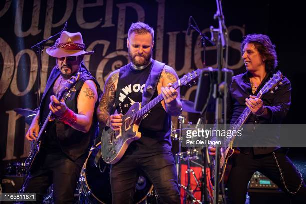 Fabrizio Grossi Kris Barras and Serge Simic with The Supersonic Blues Machine perform on stage at The Notodden Blues Festival on August 2 2019 in...