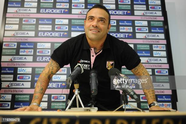 Fabrizio Miccoli answers questions during a press conference before a preseason friendly match between US Citta di Palermo and Oltrisarco on July 19...