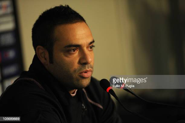 Fabrizio Miccoli of Palermo aswers questions during a press conference at Tenente Carmelo Onorato Sports Center on October 19, 2010 in Palermo, Italy.