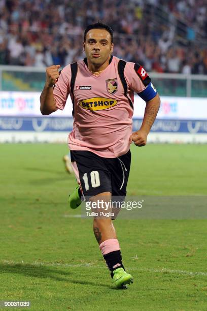 Fabrizio Miccoli of Palermo celebrates a goal during the Serie A match between US Citta di Palermo and SSC Napoli at Stadio Renzo Barbera on August...