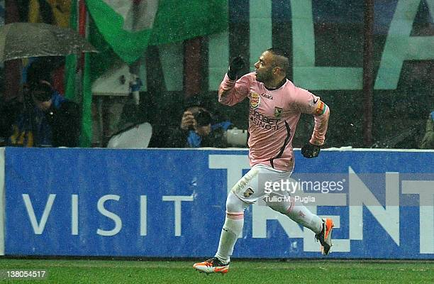 Fabrizio Miccoli of Palermo celebrates after scoring his team's third goal during the Serie A match between FC Internazionale Milano and US Citta di...