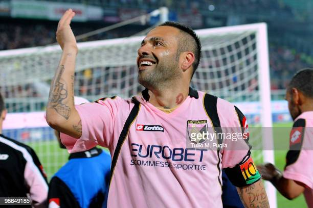 Fabrizio Miccoli of Palermo celebrates after scoring his team's third goal during the Serie A match between US Citta di Palermo and AC Milan at...