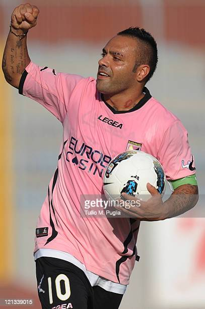 Fabrizio Miccoli of Palermo celebrates after scoring the equalising goal during the pre season friendly match between Trapani Calcio and Us Citta di...