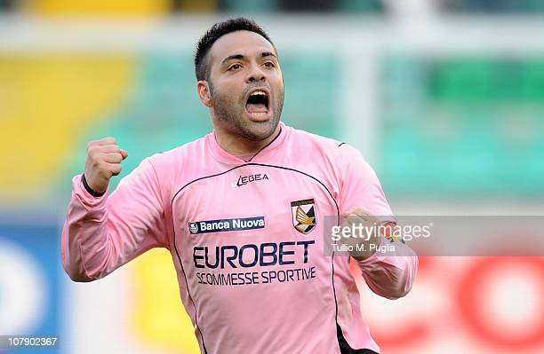Fabrizio Miccoli of Palermo celebrates after scoring the opening goal during the Serie A match between Palermo and Sampdoria at Stadio Renzo Barbera...