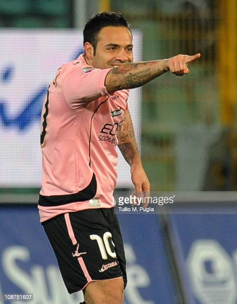 Fabrizio Miccoli of Palermo celebrates after scoring the opening goal of the Serie A match between US Citta di Palermo and Juventus FC at Stadio...