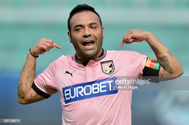 Fabrizio Miccoli of Palermo celebrates after scoring the opening goal during the Serie A match between US Citta di Palermo and AC Chievo at Stadio...
