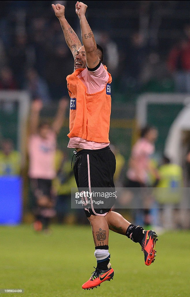 Fabrizio Miccoli of Palermo celebrates after winning the the Serie A match between US Citta di Palermo and Calcio Catania at Stadio Renzo Barbera on November 24, 2012 in Palermo, Italy.