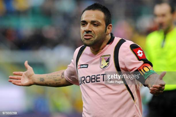 Fabrizio Miccoli of Palermo gestures during the Serie A match between US Citta di Palermo and AS Livorno Calcio at Stadio Renzo Barbera on March 7...