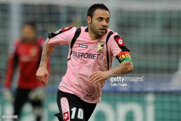 Fabrizio Miccoli of Palermo in action during the Serie A match between US Citta di Palermo and AS Livorno Calcio at Stadio Renzo Barbera on March 7...