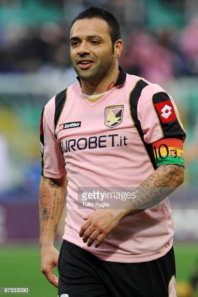 Fabrizio Miccoli of Palermo looks on during the Serie A match between US Citta di Palermo and AS Livorno Calcio at Stadio Renzo Barbera on March 7...