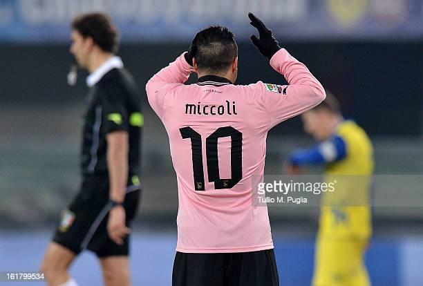 Fabrizio Miccoli of Palermo reacts the Serie A match between AC Chievo Verona and US Citta di Palermo at Stadio Marc'Antonio Bentegodi on February 16...
