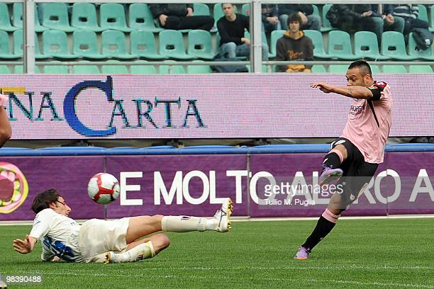 Fabrizio Miccoli of Palermo scores his second goal during the Serie A match between US Citta di Palermo and AC Chievo Verona at Stadio Renzo Barbera...