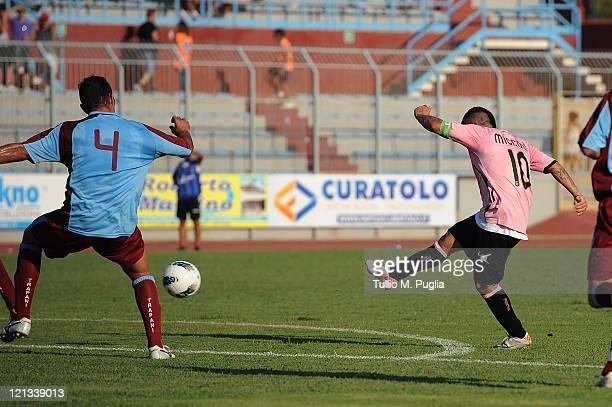 Fabrizio Miccoli of Palermo scores the equalising goal during the pre season friendly match between Trapani Calcio and Us Citta di Palermo at Stadio...