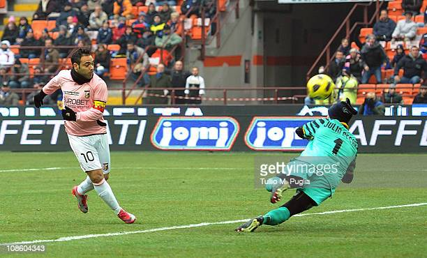 Fabrizio Miccoli of Palermo scores the opening goal during the Serie A match between FC Internazionale Milano and US Citta di Palermo at Stadio...