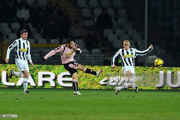 Fabrizio Miccoli of Palermo scores the opening goal during the Serie A match between Juventus and Palermo at Stadio Olimpico di Torino on February 28...